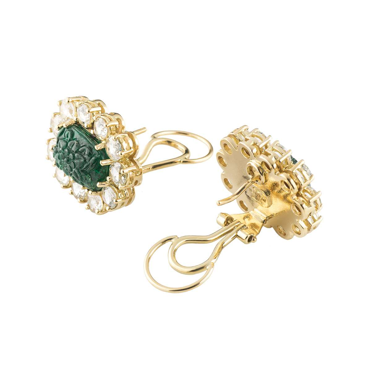 Yellow Gold Diamond and Emerald Earrings by Veschetti